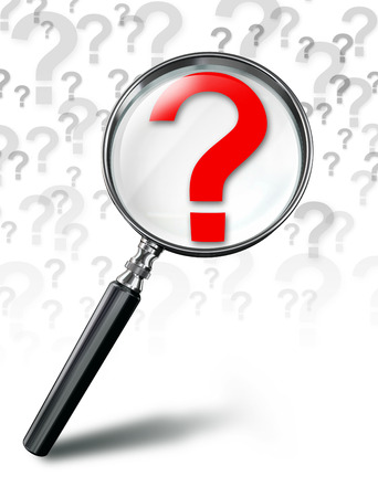 question mark red symbol and magnifying glass on white background photo