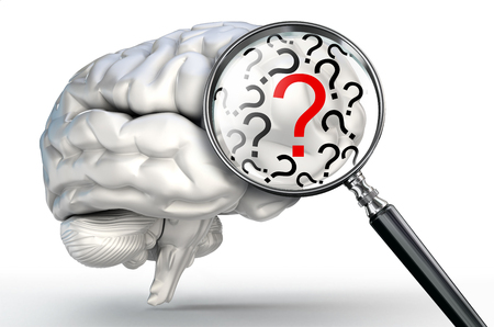 medical decisions: red question mark on magnifying glass and human brain on white background Stock Photo