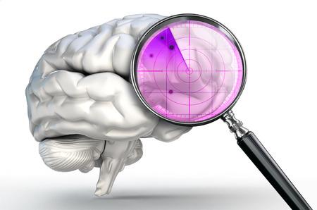 enfermedades mentales: escanear el cerebro humano con la lupa de radar de vidrio en el fondo blanco Foto de archivo