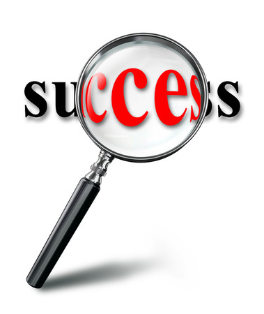path to success: success red word concept with magnifying glass on white background. clipping path included