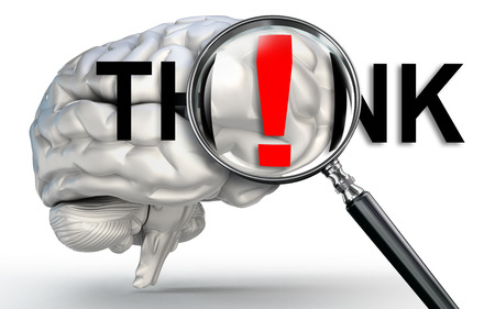 mental object: think word on magnifying glass and human brain on white background Stock Photo