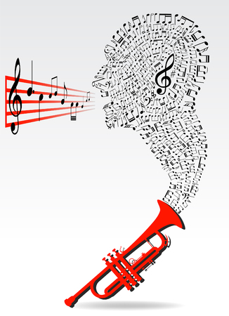 out of shape: music notes in head shape out of trumpet instrument conceptual image