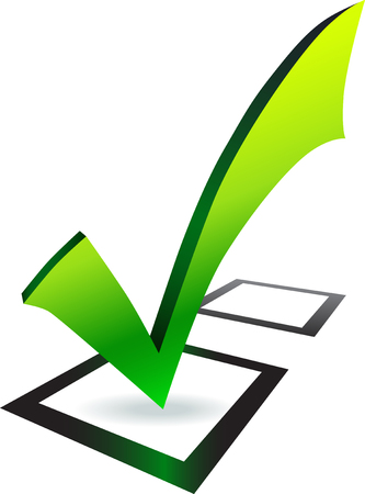 check mark green symbol in black box on white background