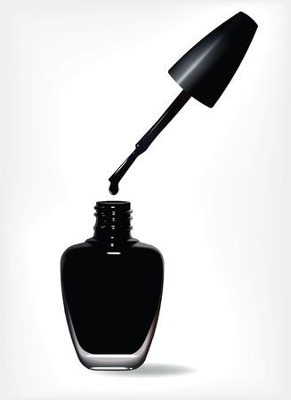 Bouteille de vernis à ongles noir et chute sur fond blanc