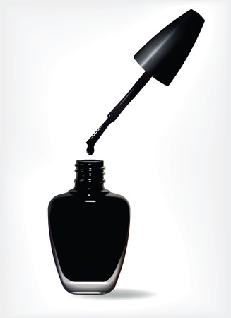 Bottle of black nail polish and drop on white background