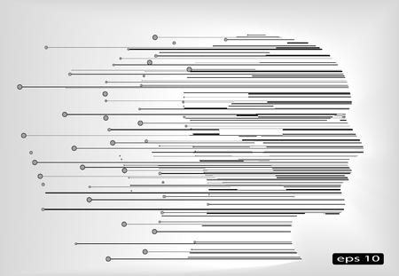 white lines: astratto profilo testa umana con linee bianche e nere