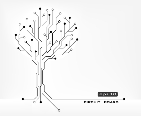 redes electricas: árbol de forma abstracta placa de circuito de fondo vector