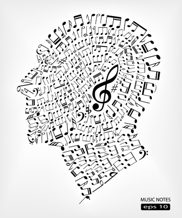 music notes abstract vector head concept