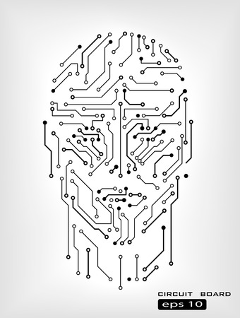 digital circuit human head silhouette vector background