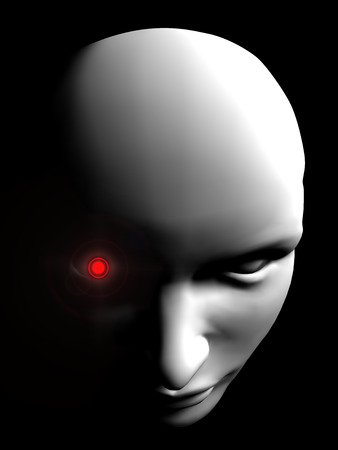 angry human robot face person on black background Stock Photo