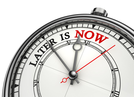later: later is now conceptual clock, isolated on white background