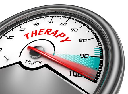 per cent: Therapy to hundred per cent cure conceptual meter, isolated on white background
