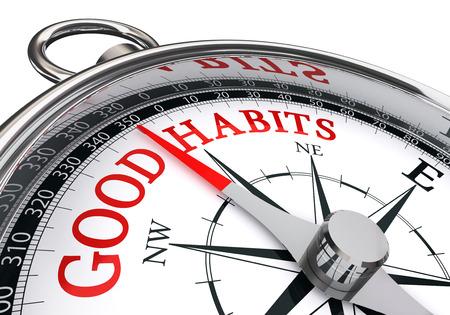buena postura: buenos hábitos mensaje rojo en la brújula conceptual, aislado en fondo blanco