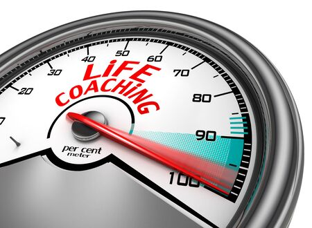 per cent: Life coaching to hundred per cent conceptual meter, isolated on white background