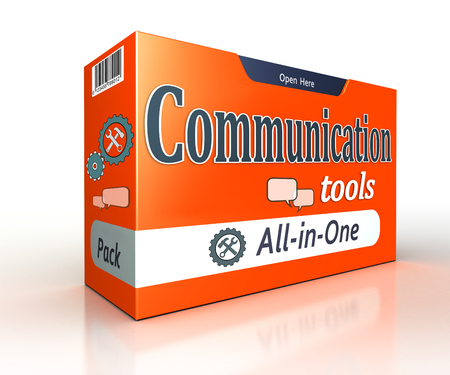 comunicação: ferramentas de comunicação laranja pacote conceito no fundo branco. trajeto de grampeamento incluído Banco de Imagens
