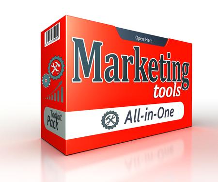 redes de mercadeo: herramientas de marketing roja concepto caja de paquete en el fondo blanco. trazado de recorte incluidos