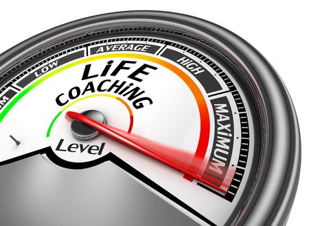 business life: life coaching level to maximum conceptual meter, isolated on white background Stock Photo