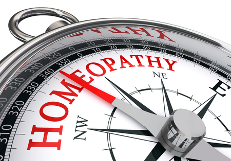 diagnosed: homeopathy red word on concept compass, isolated on white background