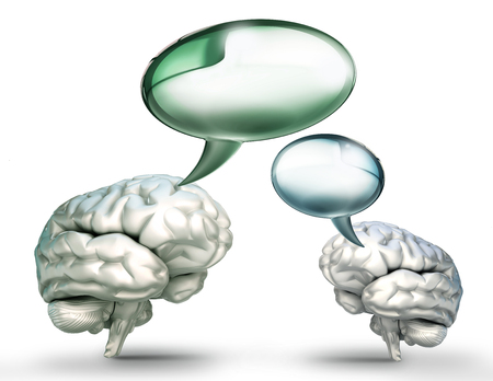 two minds: two brains communicate with talk bubbles concept on white background