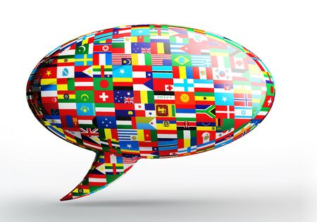 foreign nation: talk bubble language concept with nation flags on white backgound. clipping path included Stock Photo