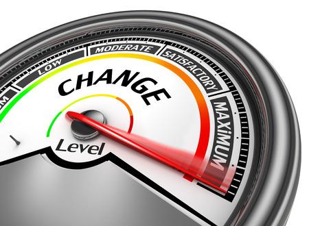 Change niveau om maximale moderne conceptuele meter, op een witte achtergrond Stockfoto