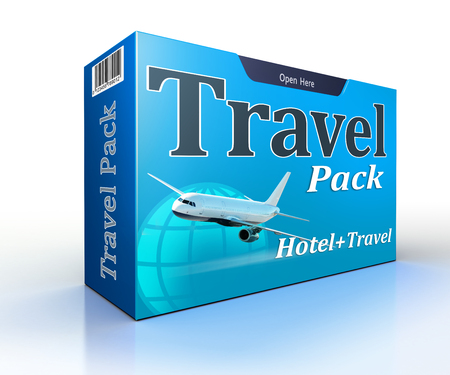 best travel destinations: travel agency concept pack with flight and hotel. clipping path included Stock Photo