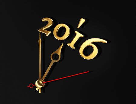 time of the year: new year 2016 golden numbers time clock concept. clipping path included