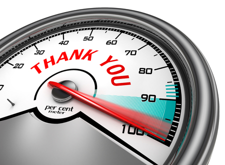 Thank you red word conceptual meter to hundred per cent, isolated on white background