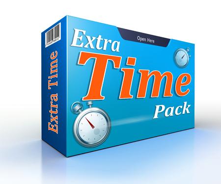 gestion del tiempo: paquete de tiempo extra oferta conceptual paquete en blanco backgound Foto de archivo