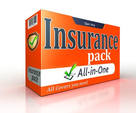 白い背景の上保険オレンジ パック コンセプト。クリッピング パスを含める 写真素材