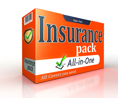 financial insurance: Insurance orange pack concept on white background. clipping path included