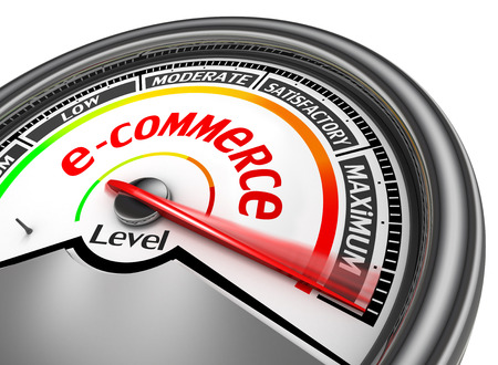 rating gauge: internet commerce level to maximum conceptual meter, isolated on white background Stock Photo