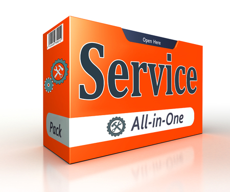 with pack: service advertising orange pack concept on white background. clipping path included