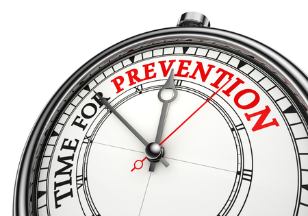 preventative: time for prevention concept clock, isolated on white background