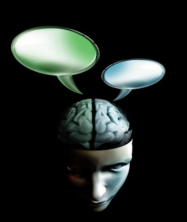 mente humana: conversación burbuja de la charla imagen conceptual mente humana en el interior