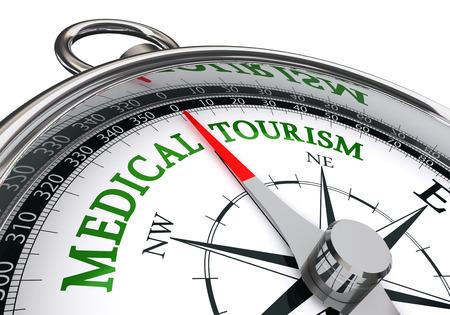 equipos medicos: signo de turismo médico en el concepto de compás, aislado en fondo blanco