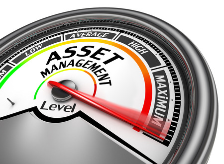 rating gauge: asset management level to maximum conceptual meter, isolated on white background
