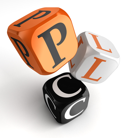 plc: PLC Product Life Cycle acronym orange black dice blocks on white background Stock Photo