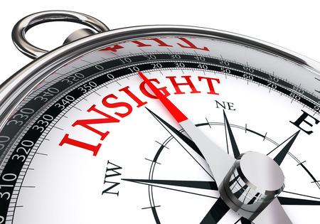inzicht rode woord begrip kompas op een witte achtergrond Stockfoto