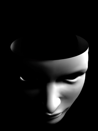 human face like mask conceptual image on black background Stock Photo