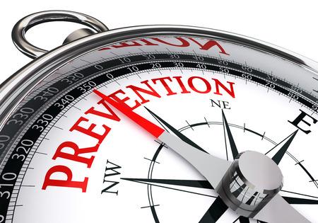 preventie rode woord op begrip kompas, geïsoleerd op een witte achtergrond