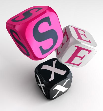 palabra sexo en cubos de color rosa de la caja negra. trazado de recorte incluidos