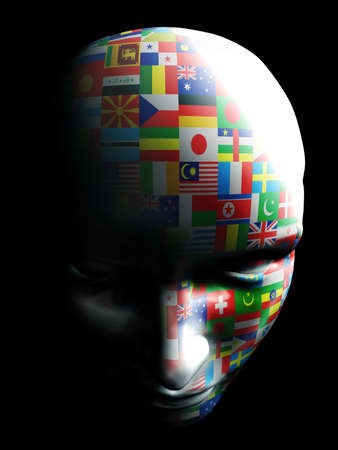 flag art on human face on black background Stock Photo