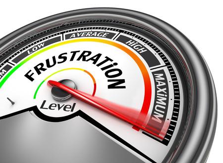 Frustratie niveau om maximale conceptuele meter, op een witte achtergrond Stockfoto