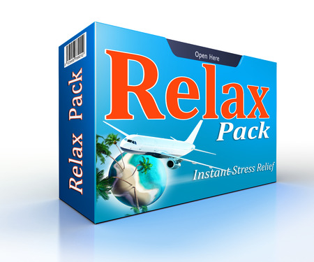with pack: Relax concept pack with flight to paradise. clipping path included