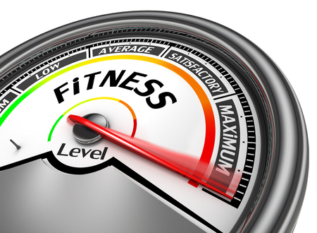 maximum: fitness to maximum level modern conceptual meter, isolated on white background