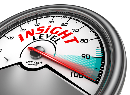 per cent: Insight per cent conceptual meter indicate hundred, isolated on white background Stock Photo