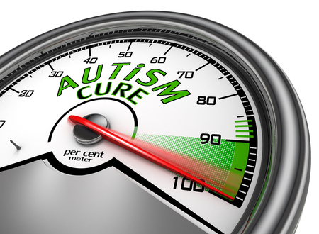 cure: Autism cure conceptual meter indicate maximum, isolated on white background