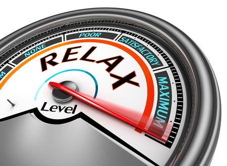 satisfactory: Relax level conceptual meter indicate maximum, isolated on white background