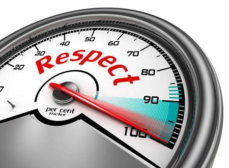 respetar: Respeto metros conceptual indican cien por ciento, aislado en fondo blanco Foto de archivo